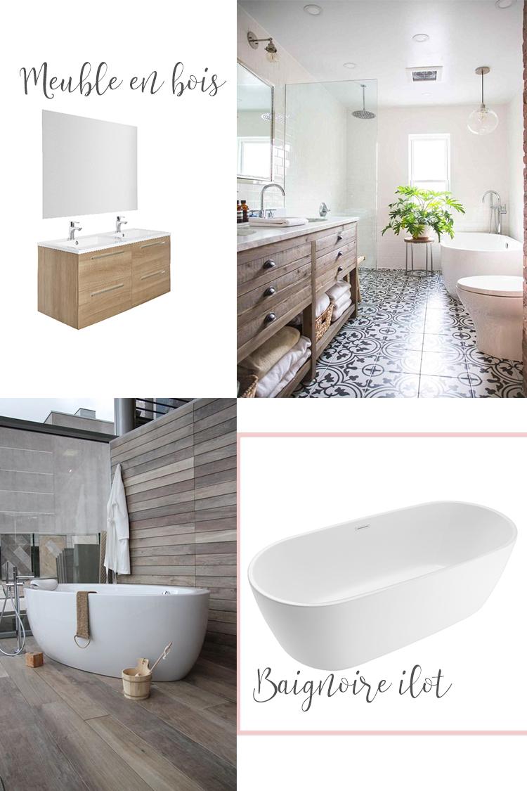moodboard pour une salle de bain moderne et chaleureuse. Black Bedroom Furniture Sets. Home Design Ideas