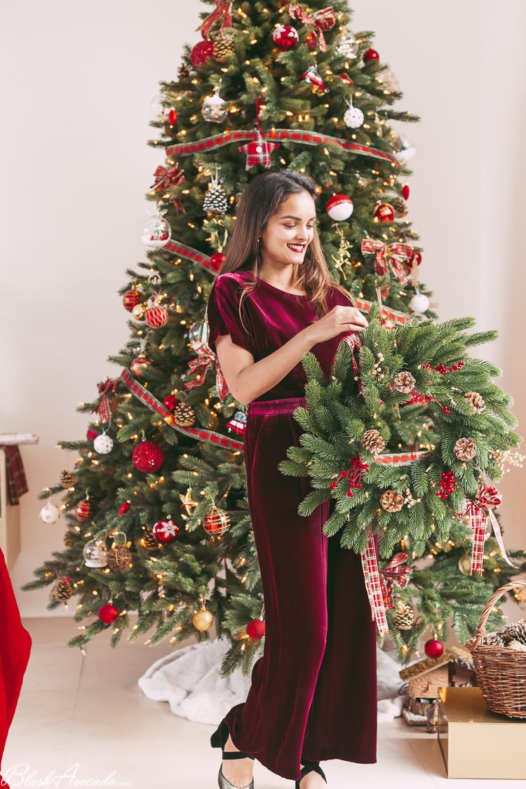 Décoration de mon sapin artificiel Balsam Hill et tenue de fêtes spécial Noël !