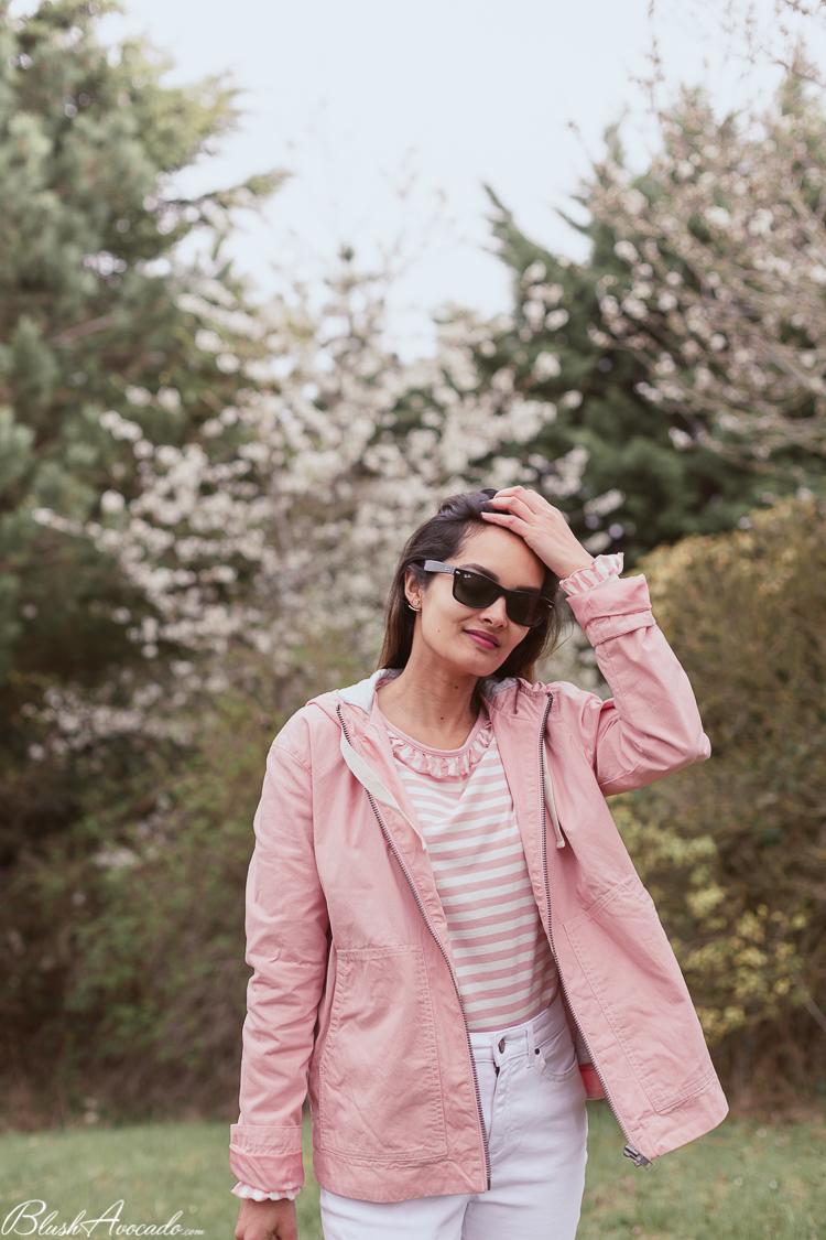 Look printanier rose et blanc
